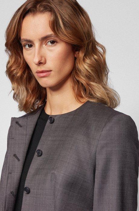 Kraagloze slim-fit blazer van wol met natuurlijke stretch, Bedrukt