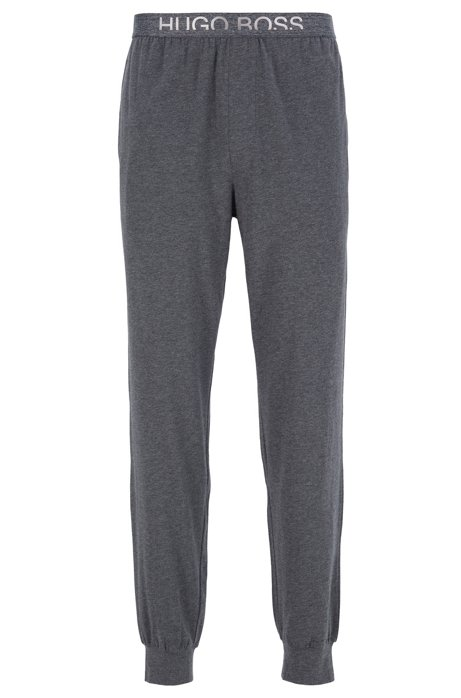 Cuffed-hem pyjama trousers with cropped-logo waistband, Anthracite