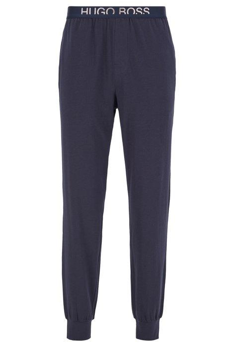 Cuffed-hem pyjama trousers with cropped-logo waistband, Dark Blue