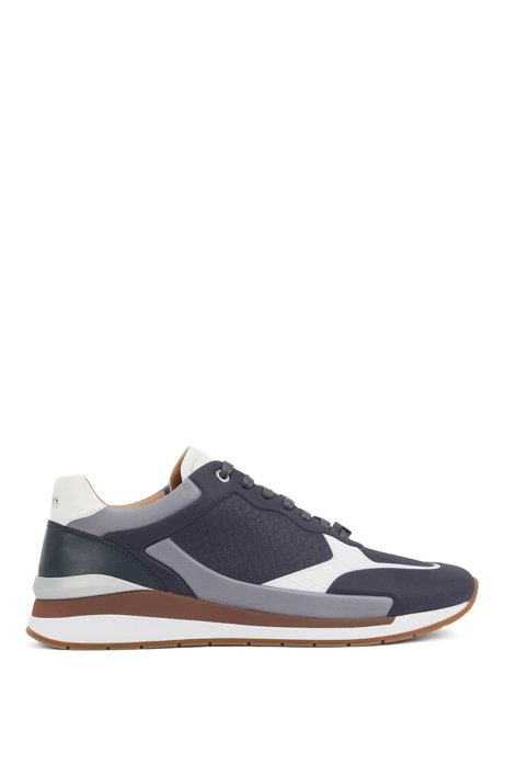 Running-inspired trainers in leather with monogram panels, Dark Blue