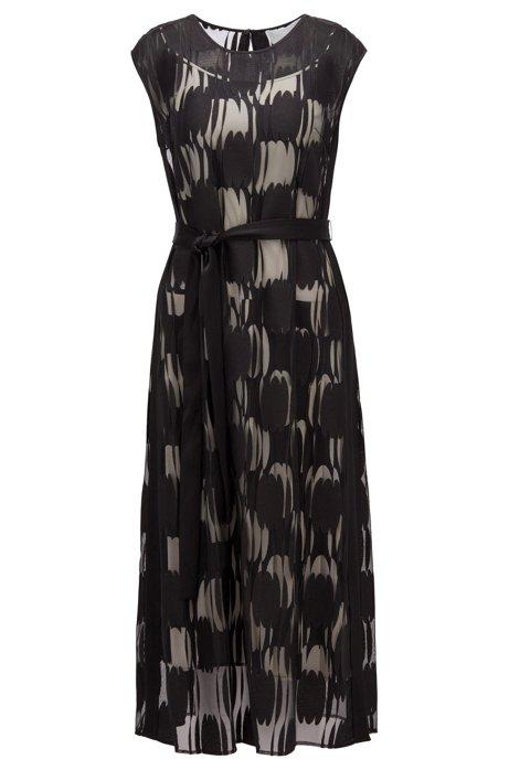 Mehrlagiges Kleid aus leichtem Gewebe mit abstraktem Punktemuster, Schwarz