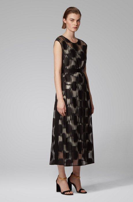 Gelaagde jurk van licht materiaal met gebroken stippendessin, Zwart