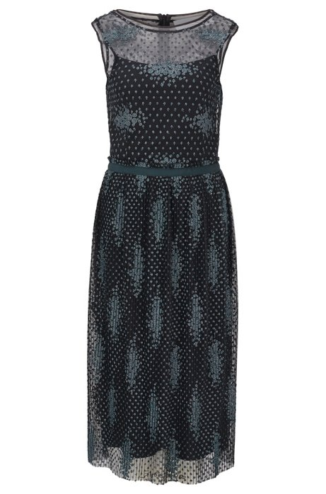 Sleeveless dress in embroidered tulle with dot motif, Patterned