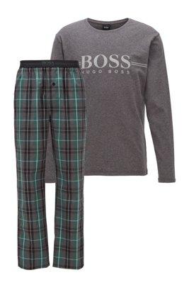 Pijama de algodón con logo termosellado en caja de regalo, Gris oscuro