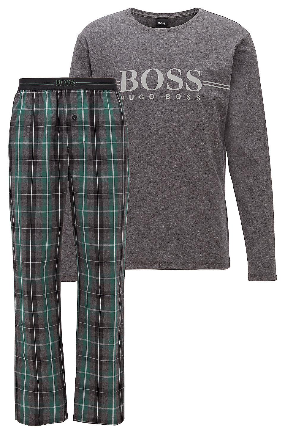Hugo Boss Urban Long Pyjamas Set Check Navy 50414805