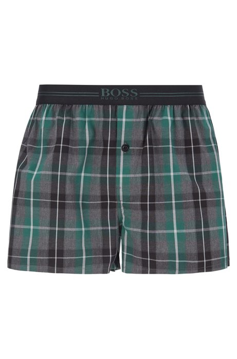 Melange-check pyjama shorts with logo waistband, Dark Grey