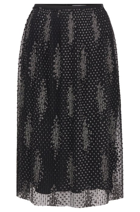 Pleated A-line skirt in sparkly embroidered tulle , Patterned