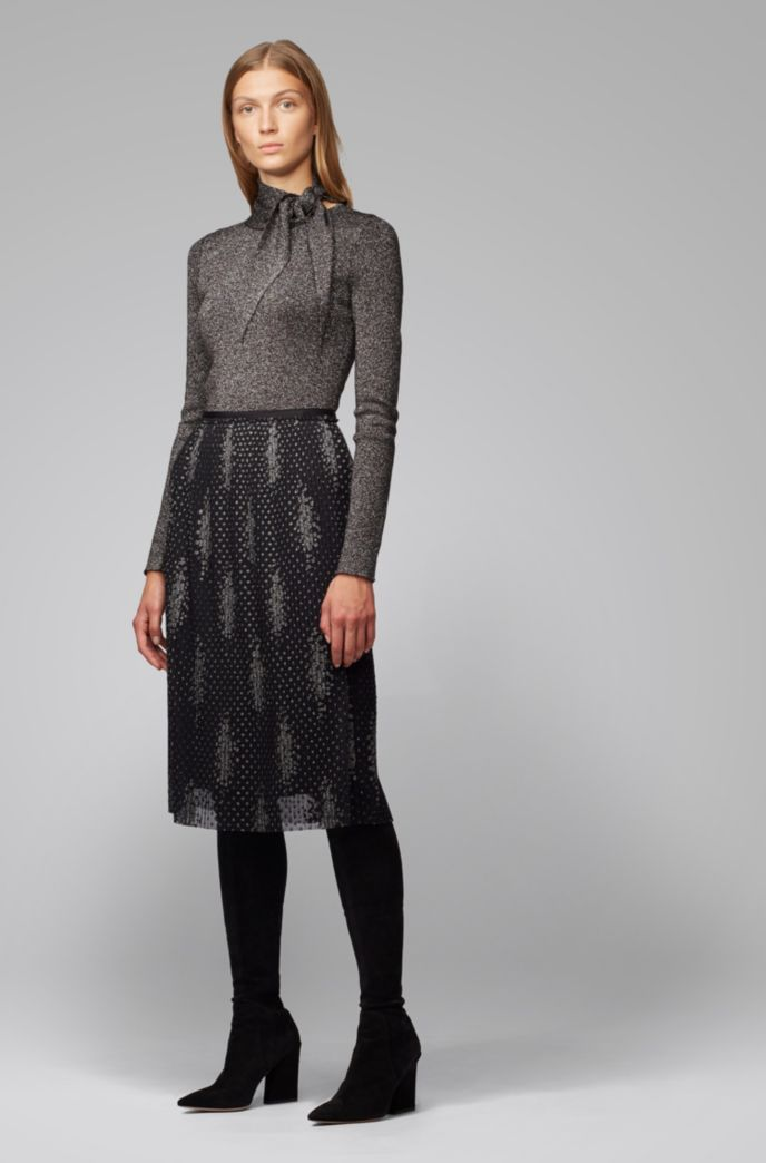 Pleated A-line skirt in sparkly embroidered tulle