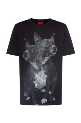Regular-fit cotton T-shirt with dog print, Black