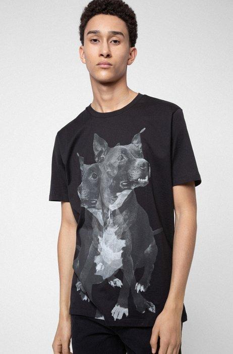 T-shirt Regular Fit en coton à imprimé chien, Noir