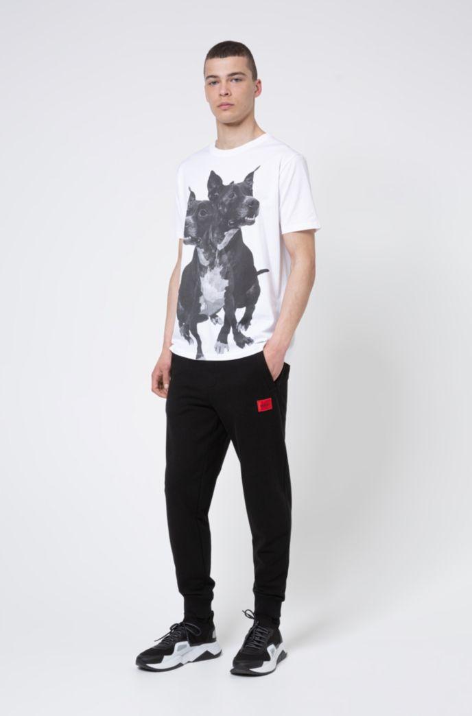 Regular-fit cotton T-shirt with dog print