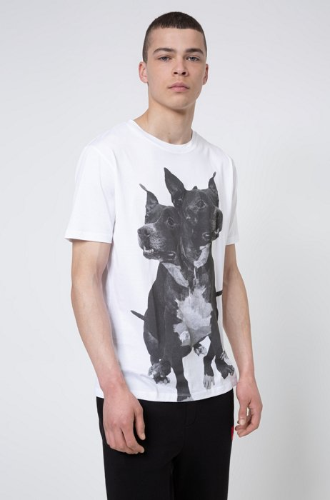 Regular-fit cotton T-shirt with dog print, White