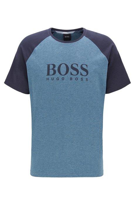 Camiseta de pijama en punto de algodón elástico con manga raglán, Azul