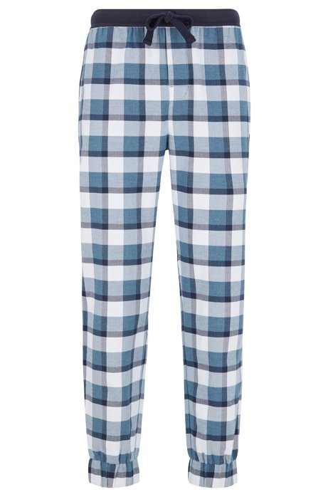 Cuffed pyjama trousers in chevron-patterned brushed cotton, Blue