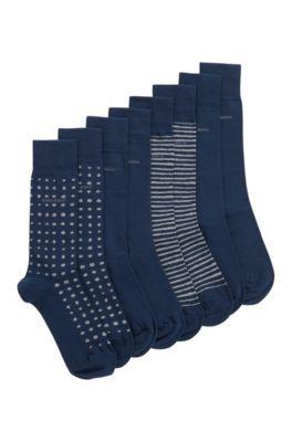 Chaussettes mi-mollet en lot de quatre, présentées dans un coffret cadeau, Bleu foncé