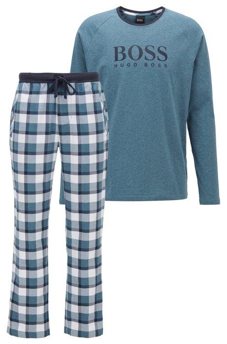 Gift-boxed pyjama set with contrast logo print, Blue