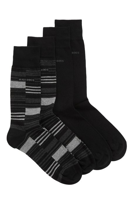 Two-pack of regular-length socks in a sustainable-cotton blend, Black