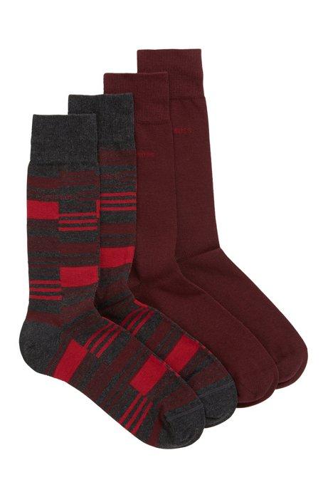 Paquete de dos pares de calcetines de largo normal en mezcla de algodón sostenible, Gris marengo