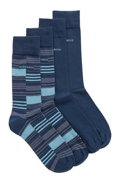 Two-pack of regular-length socks in a sustainable-cotton blend, Dark Blue