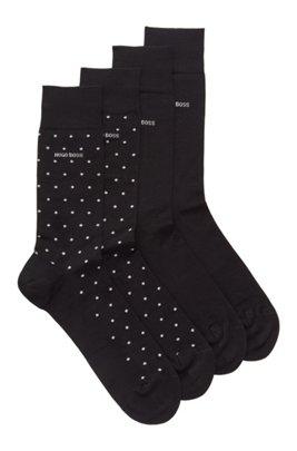 Chaussettes mi-mollet en lot de deux, présentées dans un coffret cadeau, Noir