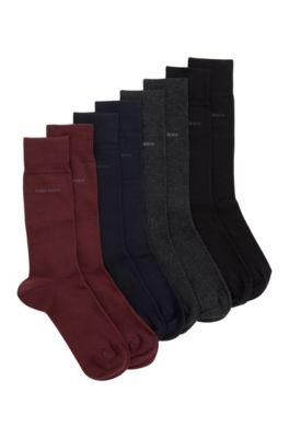 Chaussettes mi-mollet en lot de quatre, présentées dans un coffret cadeau, Fantaisie