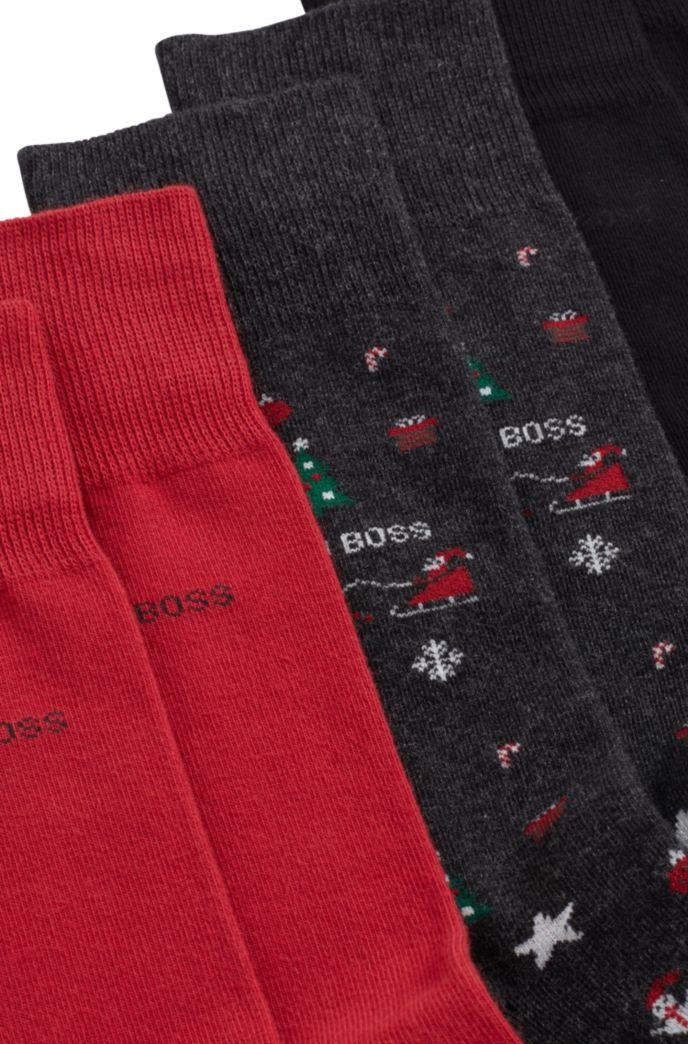 Three-pack of gift-boxed regular-length socks