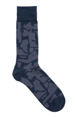 Combed cotton-blend socks with camouflage pattern, Dark Blue