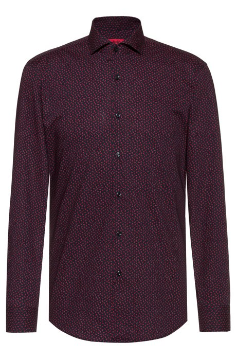 Slim-fit shirt with all-over staple print, Patterned