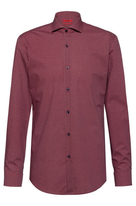 Slim-fit shirt in cotton with micro print, Patterned
