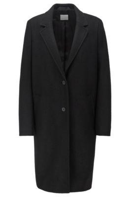 Regular-fit mantel in blazerstijl van wolvilt, Zwart