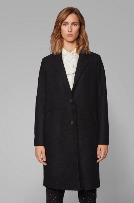 Regular-Fit Mantel aus gekochter Schurwolle im Blazer-Stil, Schwarz