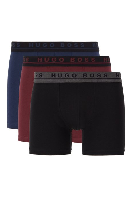 Three-pack of boxer briefs in stretch cotton, Black