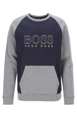 Loungewear-Sweatshirt aus Fleece mit Logo-Print, Dunkelblau