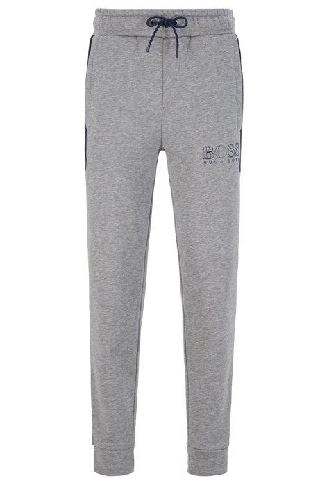 Colour-block fleece loungewear trousers with outline logo, Dark Blue