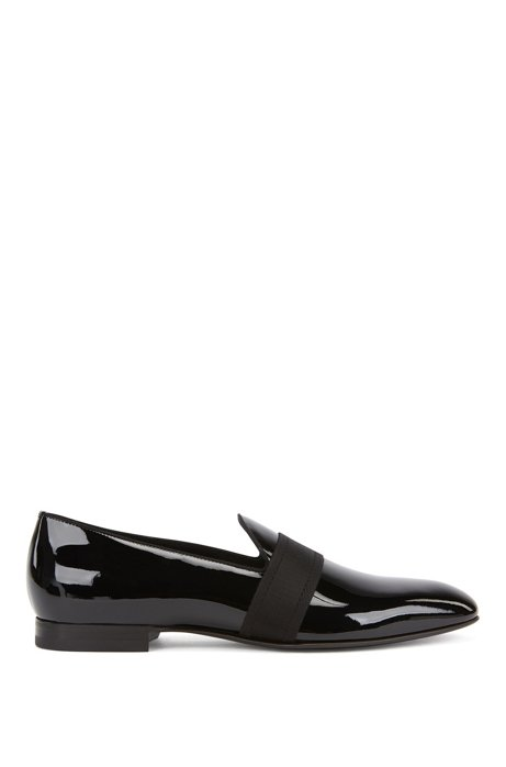 Italian-made loafers in patent leather with grosgrain band, Black