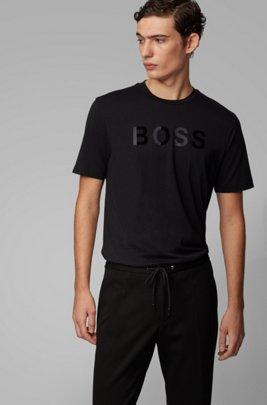 Cotton jersey T-shirt with mixed-print logo, Black