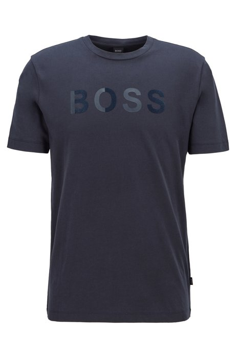 Cotton jersey T-shirt with mixed-print logo, Dark Blue