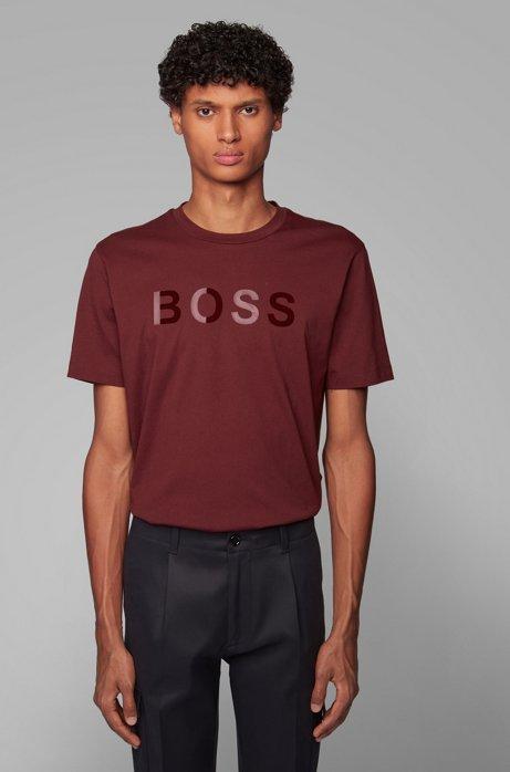 T-shirt van katoenen jersey met gemengde logoprint, Donkerrood