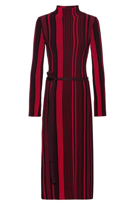 Stand-collar dress in midi length with multicoloured stripe, Patterned