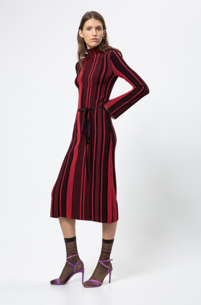 Stand-collar dress in midi length with multicoloured stripe