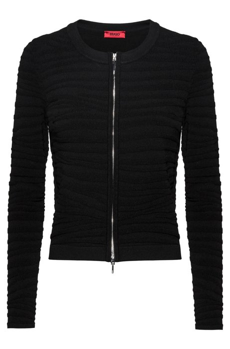 Slim-fit jacket with zebra structure in stretch fabric, Black