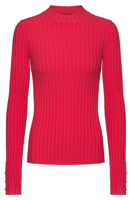 High-neck sweater in ribbed super-stretch fabric, Red