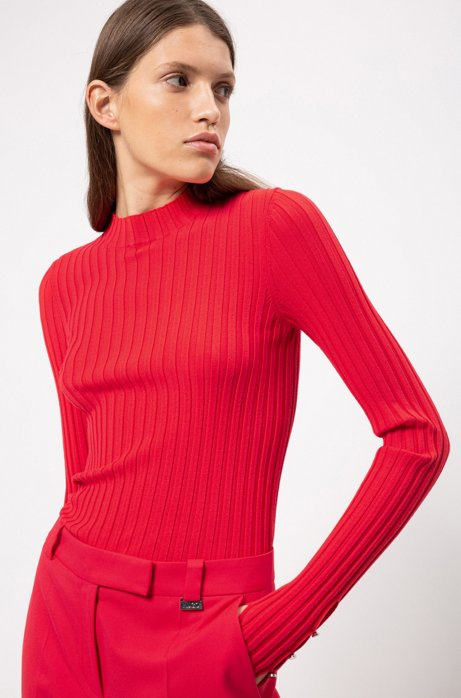 Hochgeschlossener Pullover aus geripptem Gewebe, Rot