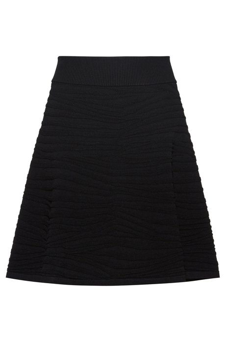 A-line skirt with zebra structure and ribbed waistband, Black