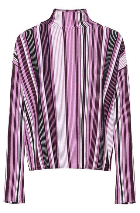 Pullover mit Rollkragen und mehrfarbigen Streifen, Gemustert