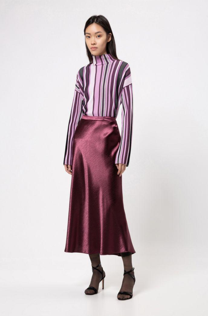 Maglione oversize dolcevita a righe multicolore