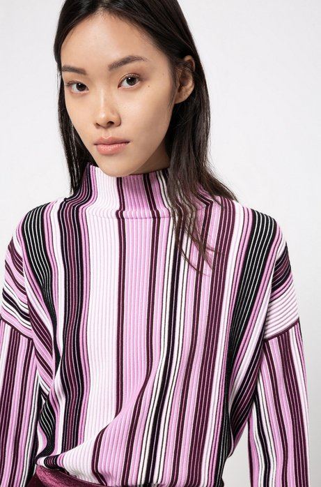 Oversized-fit sweater with turtleneck and multicoloured stripe, Patterned