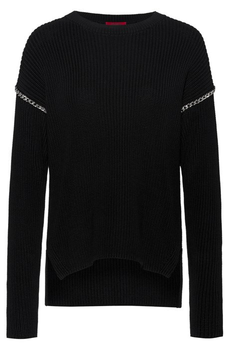Relaxed-fit cotton sweater with chain trims, Black