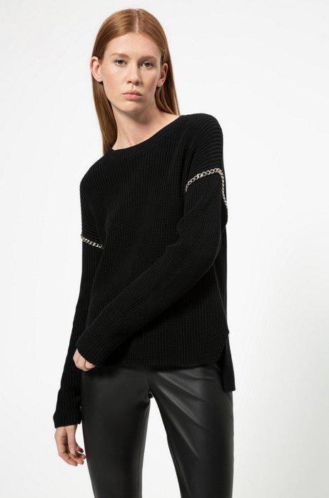 Relaxed-fit trui van katoen met kettingdecoraties, Zwart