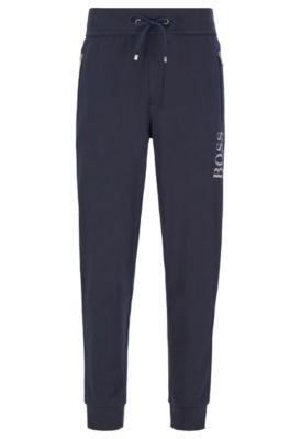 Pantalon d'intérieur en coton mélangé à logo métallisé, Bleu foncé